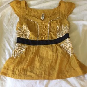 Anthropologie FLOREAT sz 0 Embroidered Blouse $108